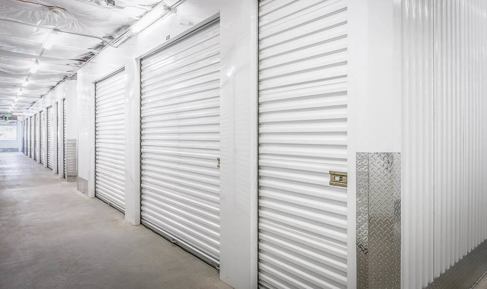 Spacious hallways at the self storage facility in Renton
