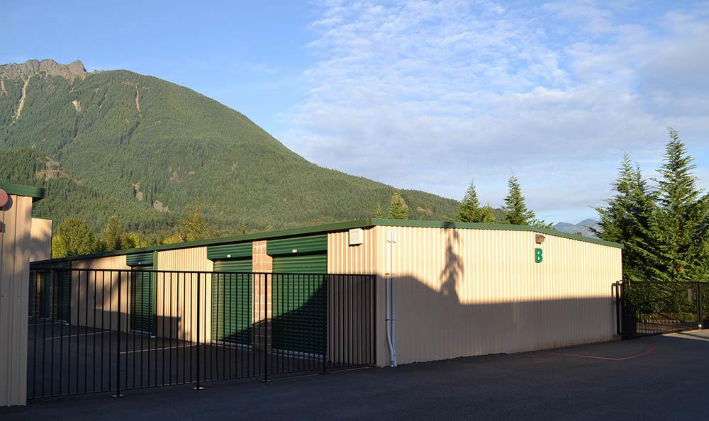 Exterior gated self storage units in North Bend, WA
