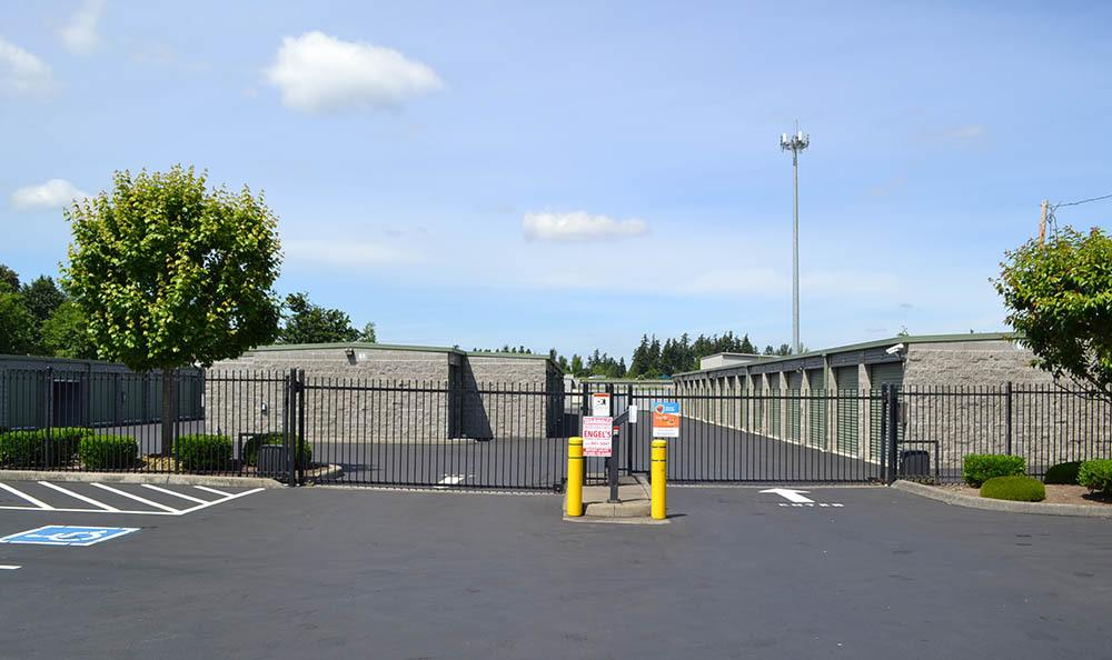 Security gate at self storage in Puyallup, WA