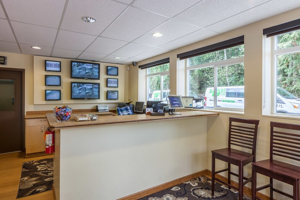Interior office of our self storage facility in Bainbridge Island, WA