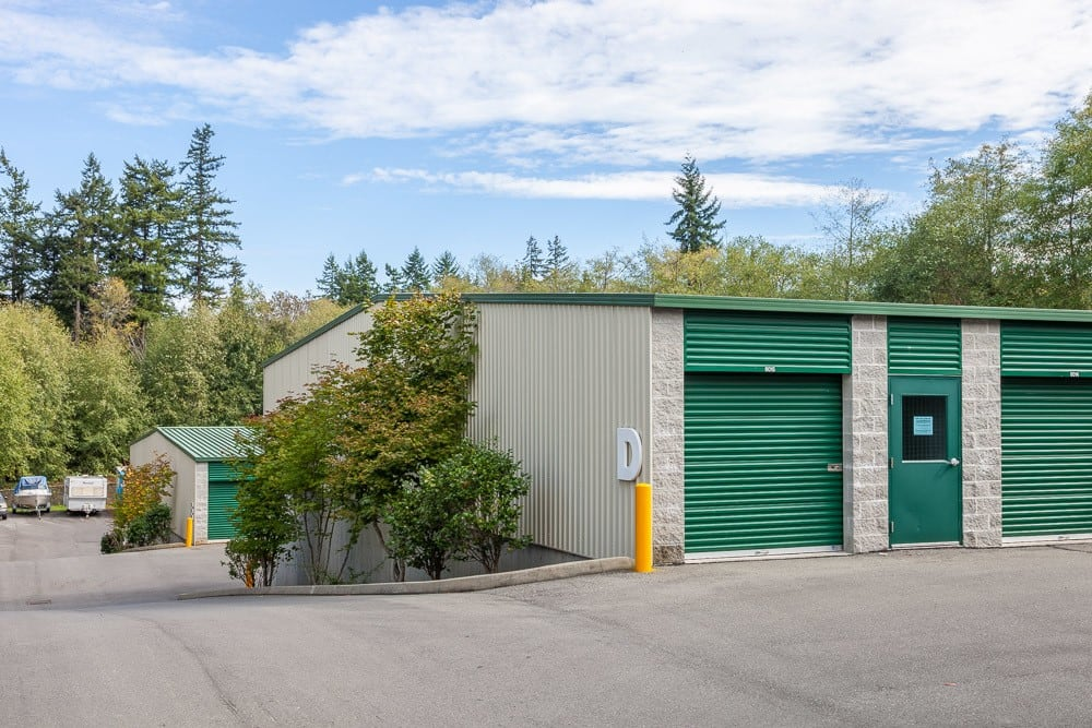Exterior self storage units leading to boat and RV storage in Bainbridge Island, WA