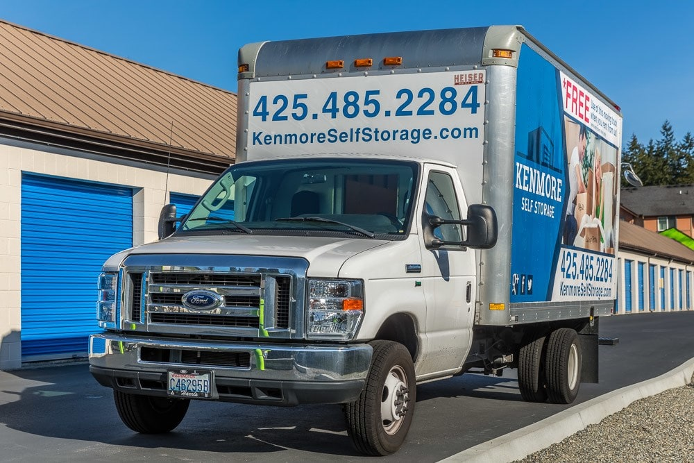 Rental trucks available for your self storage needs in Kenmore, WA