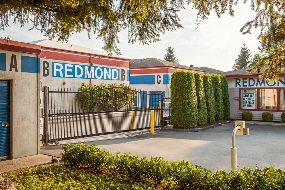 Gated entry into self storage units in Redmond, WA.