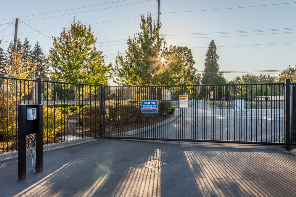 Security gate to keep your self storage protected in Marysville, WA