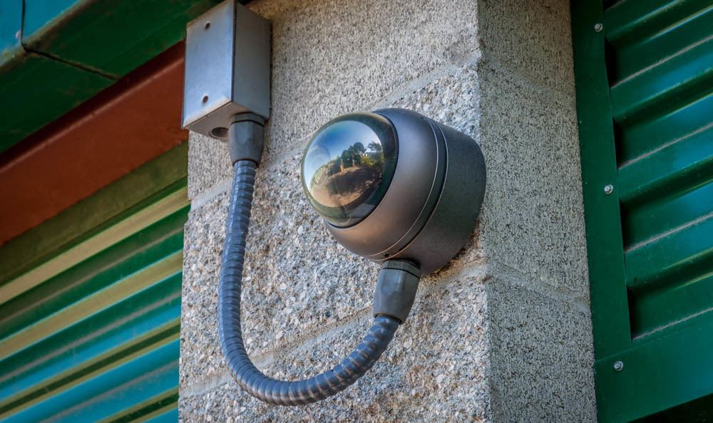 Exterior camera guarding self storage units in Auburn, WA