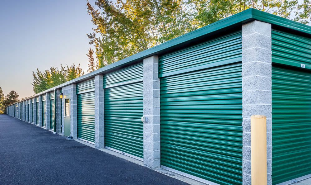 Self storage units outside at our self storage facility in Auburn