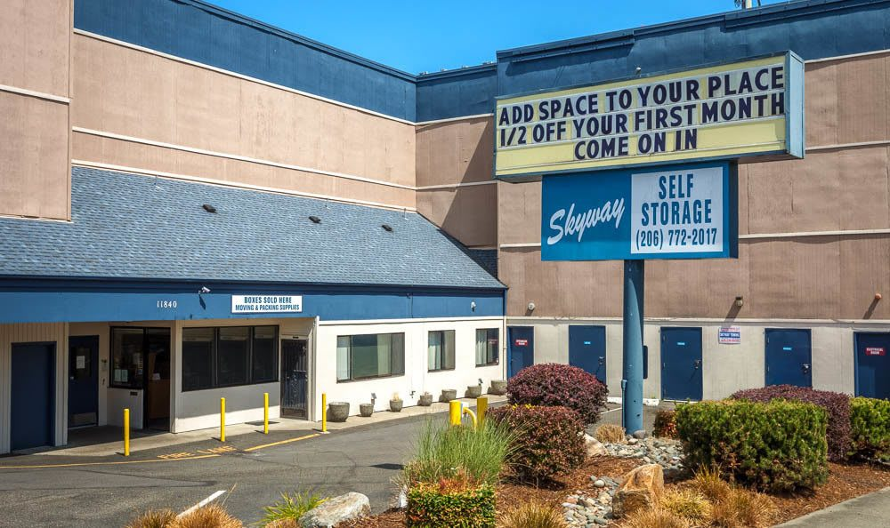 Welcoming front entrance at the self storage facility in Seattle
