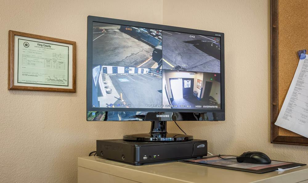 Security monitors for your protection at the self storage facility in Seattle