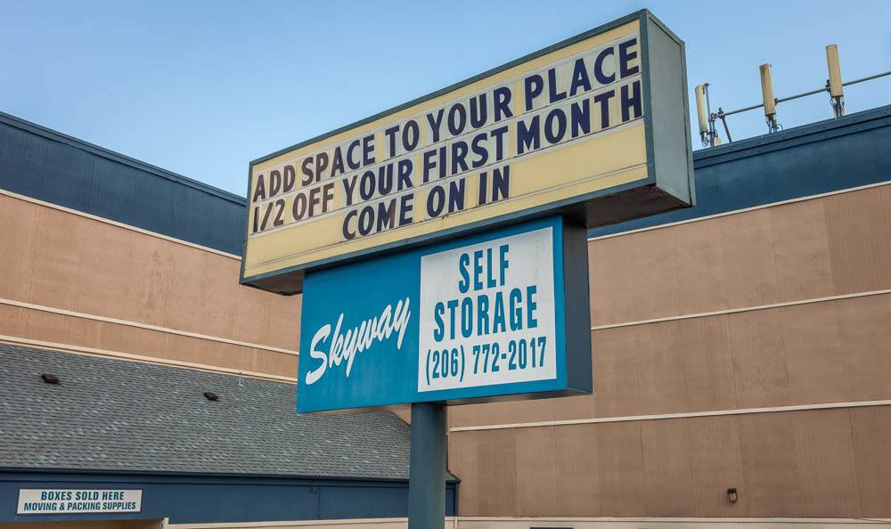 Exterior sign at the self storage facility in Seattle