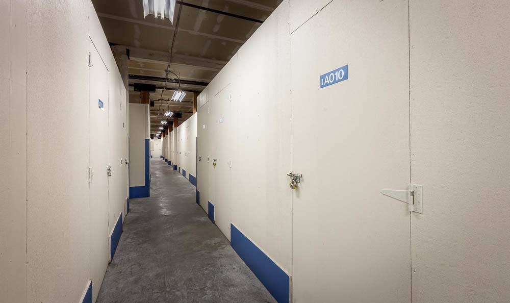Wide inside hallways at the self storage facility in Seattle