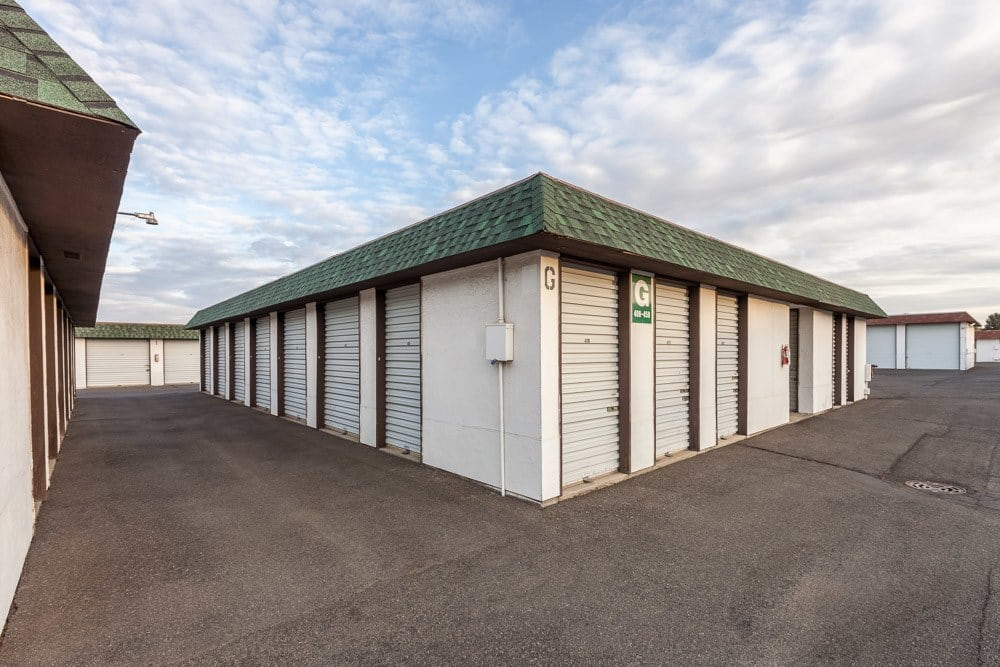 Exterior self storage units and RV spaces in Yakima, WA.
