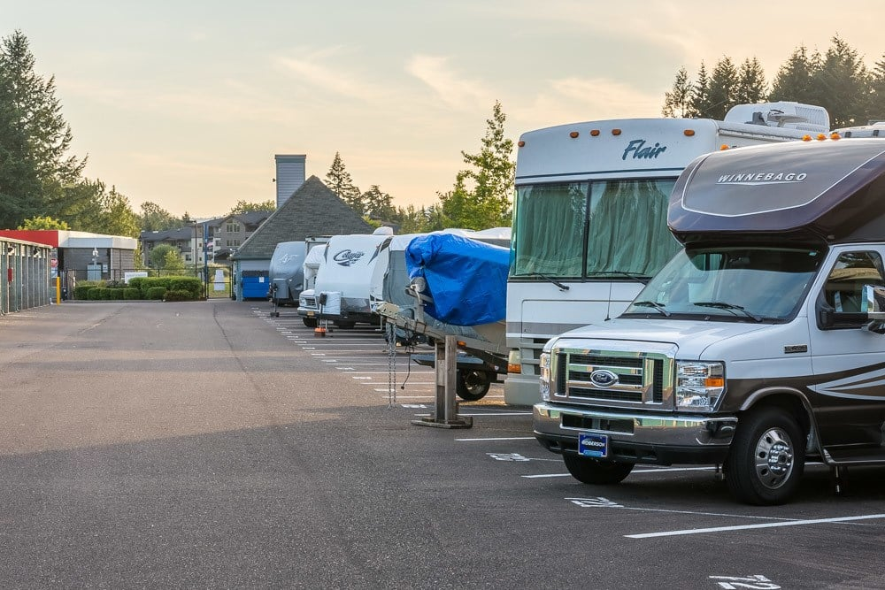 Boat and RV parking at self storage in Albany, OR