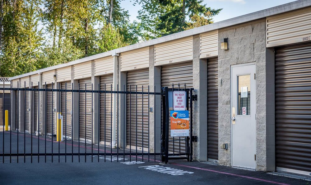 Self storage facility in Renton has an electronic gate for security