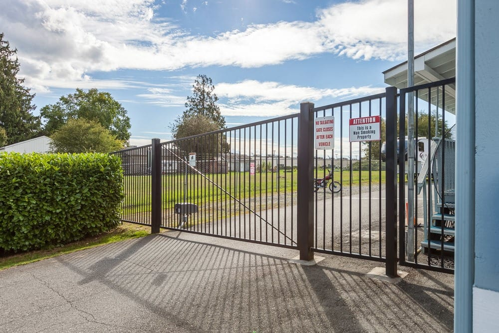 Gated entry into self storage units in Burlington, WA.