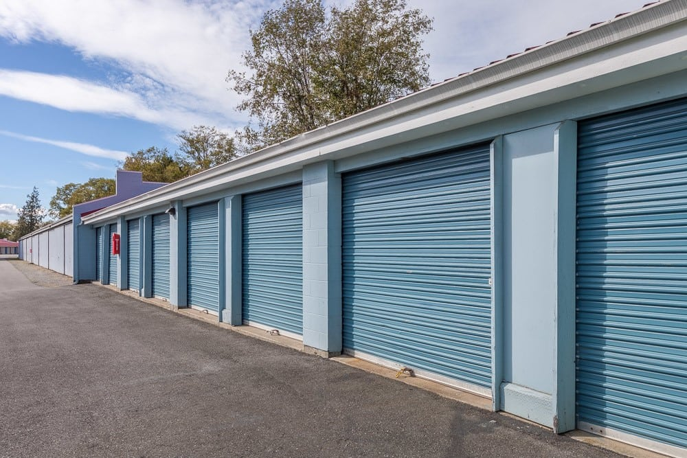 Exterior self storage units for rental in Burlington, WA.
