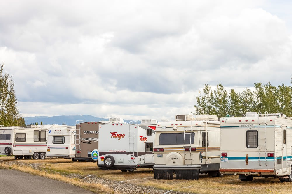 RV and boat storage at self storage facility in Ferndale, WA.