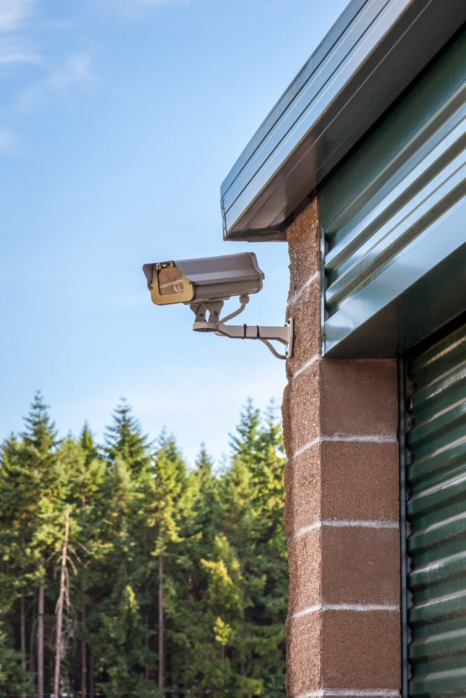 Exterior security camera keeping an eye on self storage in Puyallup, WA