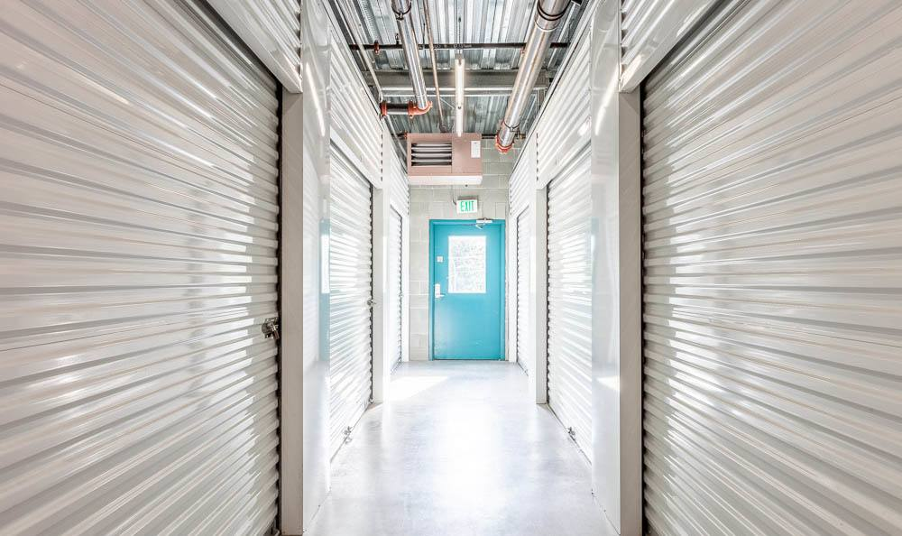 Wide hallways at the self storage facility in Renton