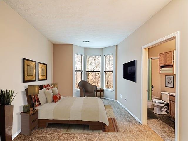 Model bedroom at Highlands of Montour Run in Coraopolis, PA