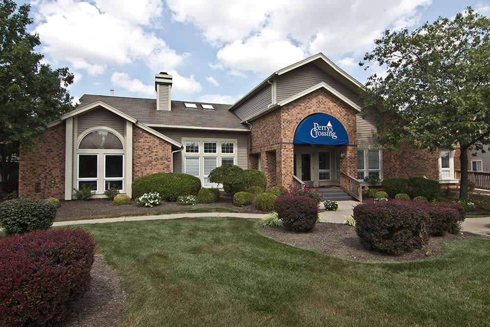 Modern clubhouse at Perry's Crossing Apartments in Perrysburg, Ohio