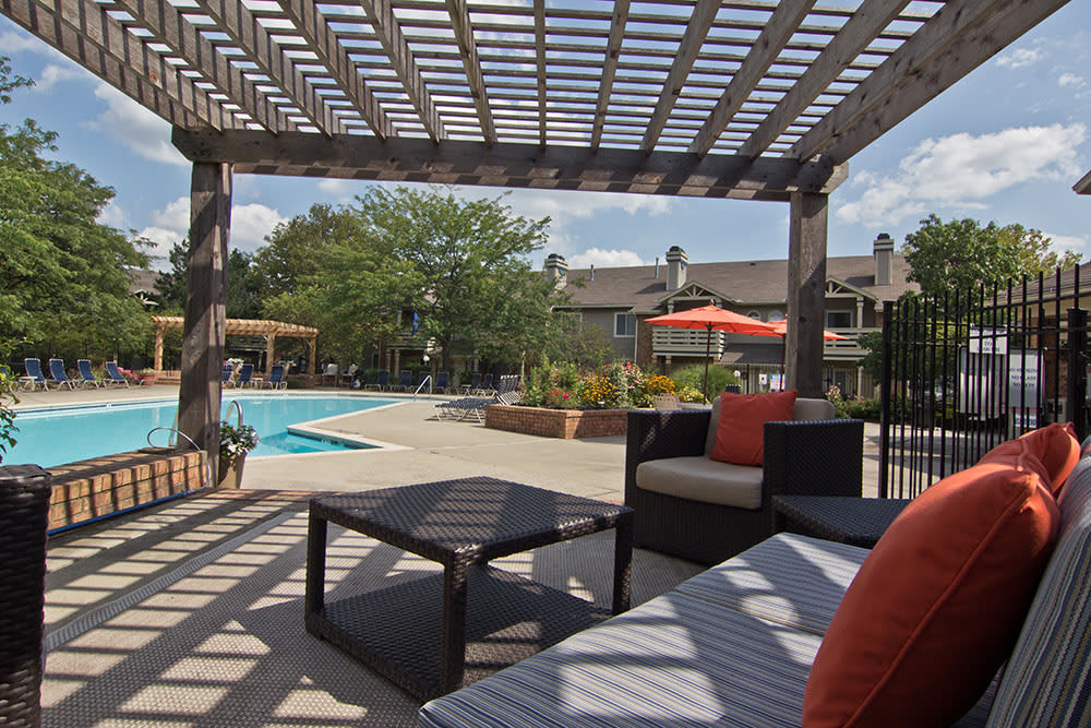 Beautiful space in the swimming pool at Perry's Crossing Apartments in Perrysburg, Ohio