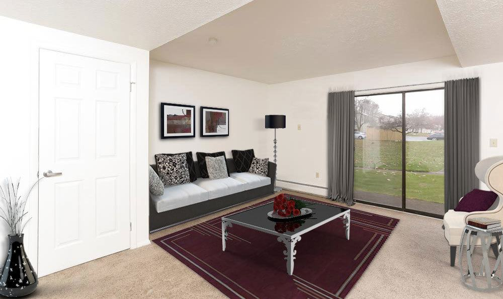 Penfield apartments includes living rooms with attached patios
