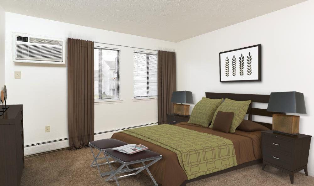Example bedroom at apartments in Penfield