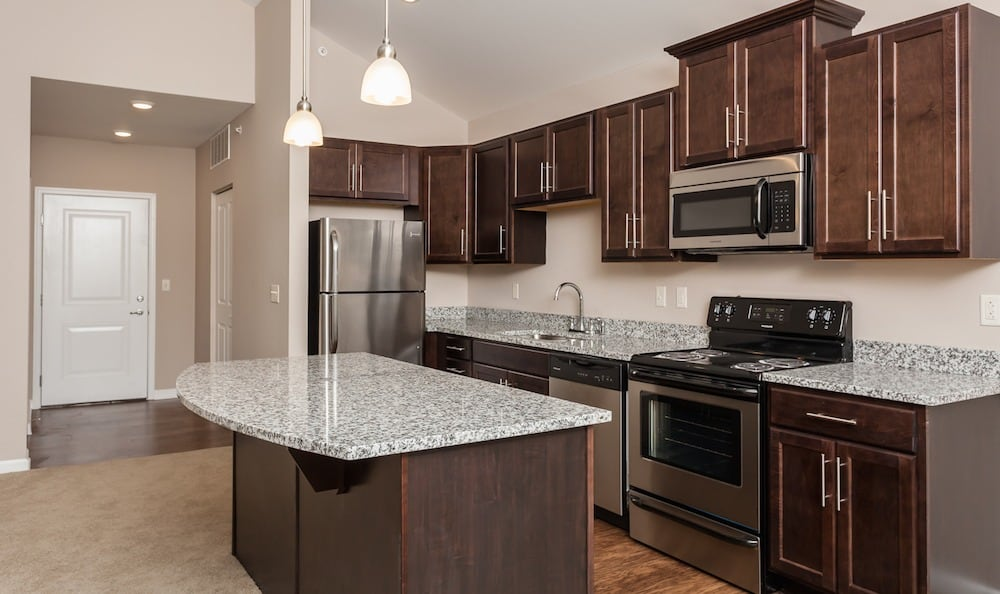 Spacious kitchen at Waters Edge Apartments in Webster, NY