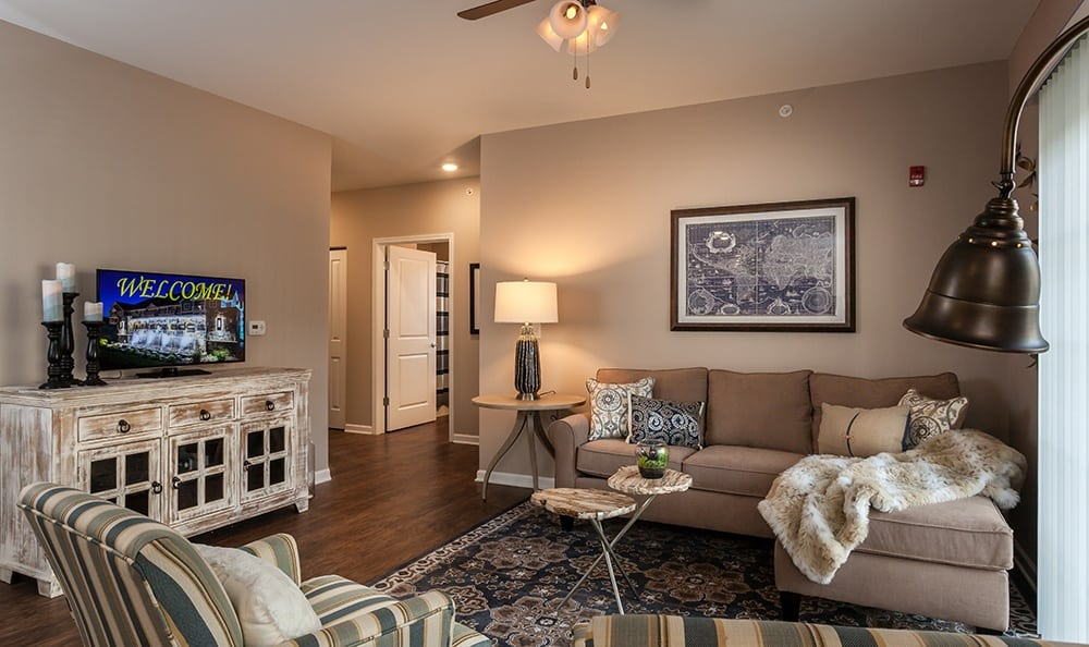 Model Living Room at Waters Edge Apartments in Webster, NY