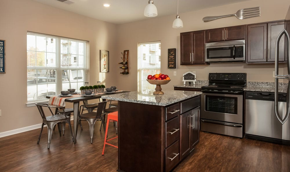 Bright kitchen at Waters Edge Apartments in Webster, NY