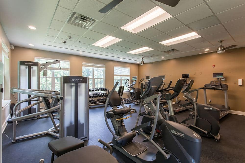 Stay healthy in our well equipped fitness center at Waters Edge Apartments