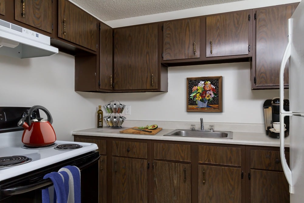 Example kitchen at apartments in Webster