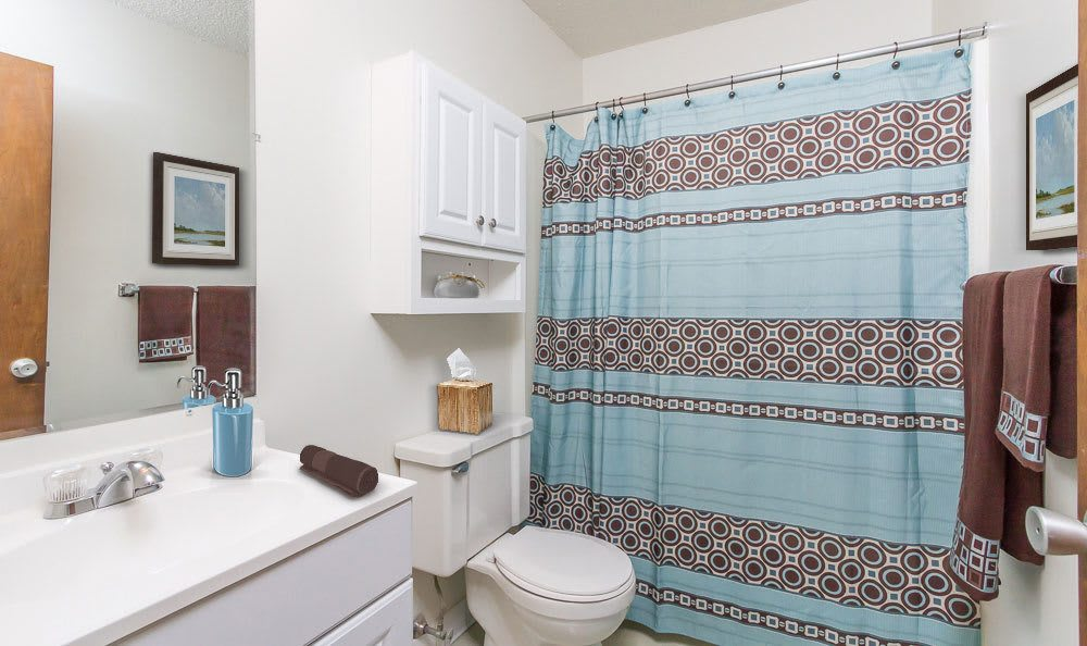 Example bathroom at apartments in Webster