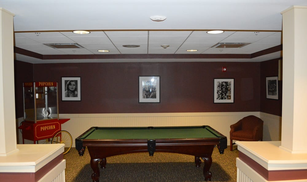 Pool table at apartments in Rochester
