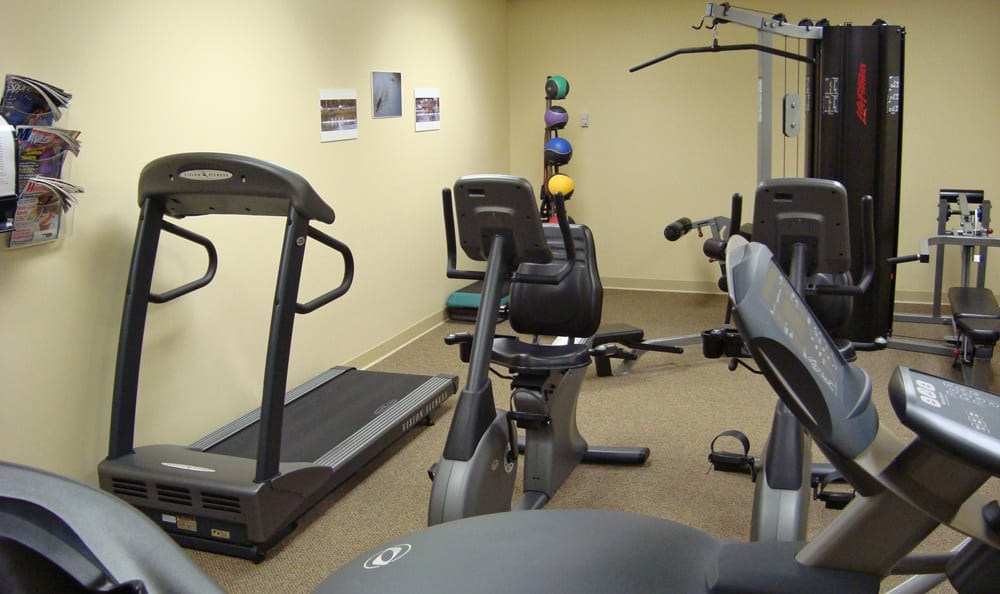 Stay healthy in our well equipped fitness center at Greenwood Cove Apartments