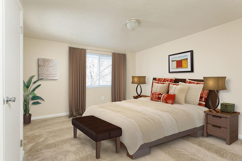 Beautiful bedroom at apartments in Brockport, New York