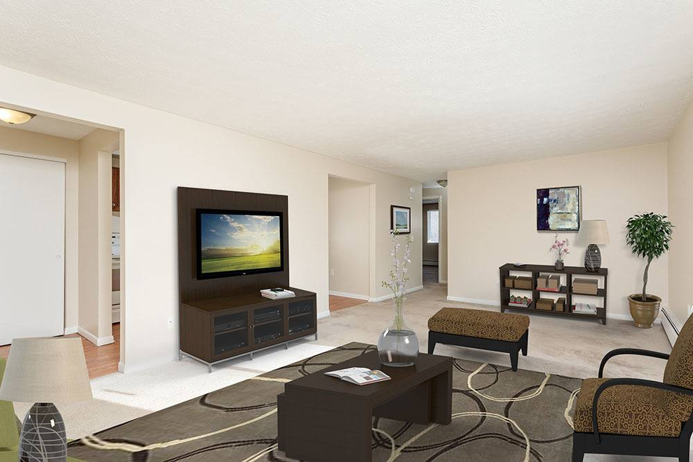 Beautiful living room at Willowbrooke Apartments and Townhomes in Brockport, New York