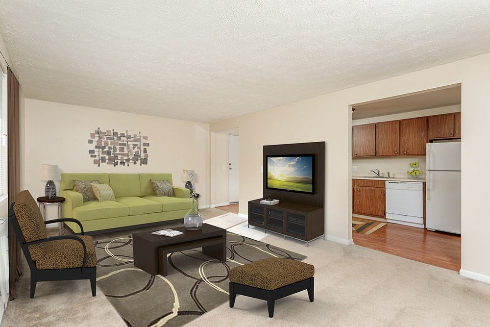 Beautiful living room at apartments in Brockport, New York