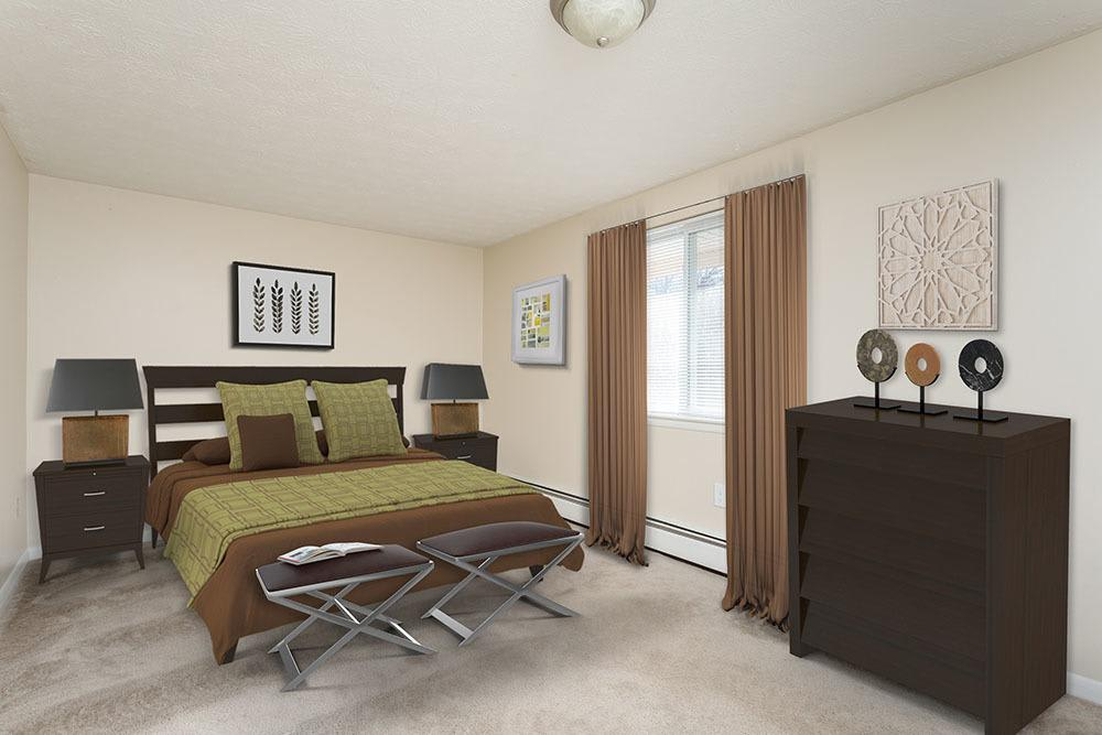Beautiful bedroom at Willowbrooke Apartments and Townhomes in Brockport, New York