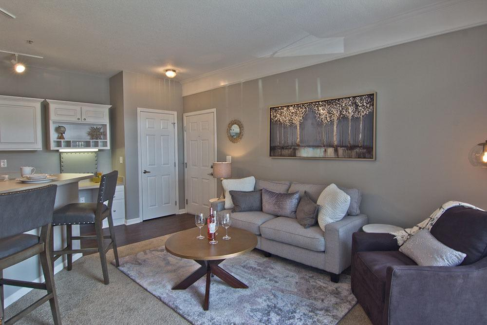 Spacious living room at apartments in Toledo, OH