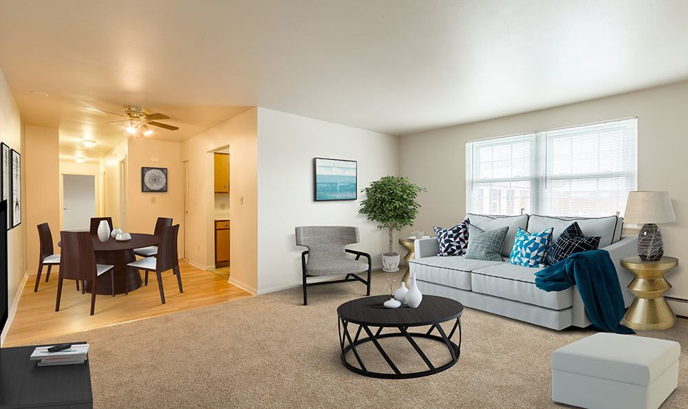 Model Living Room at Orchard Estates in Mattydale