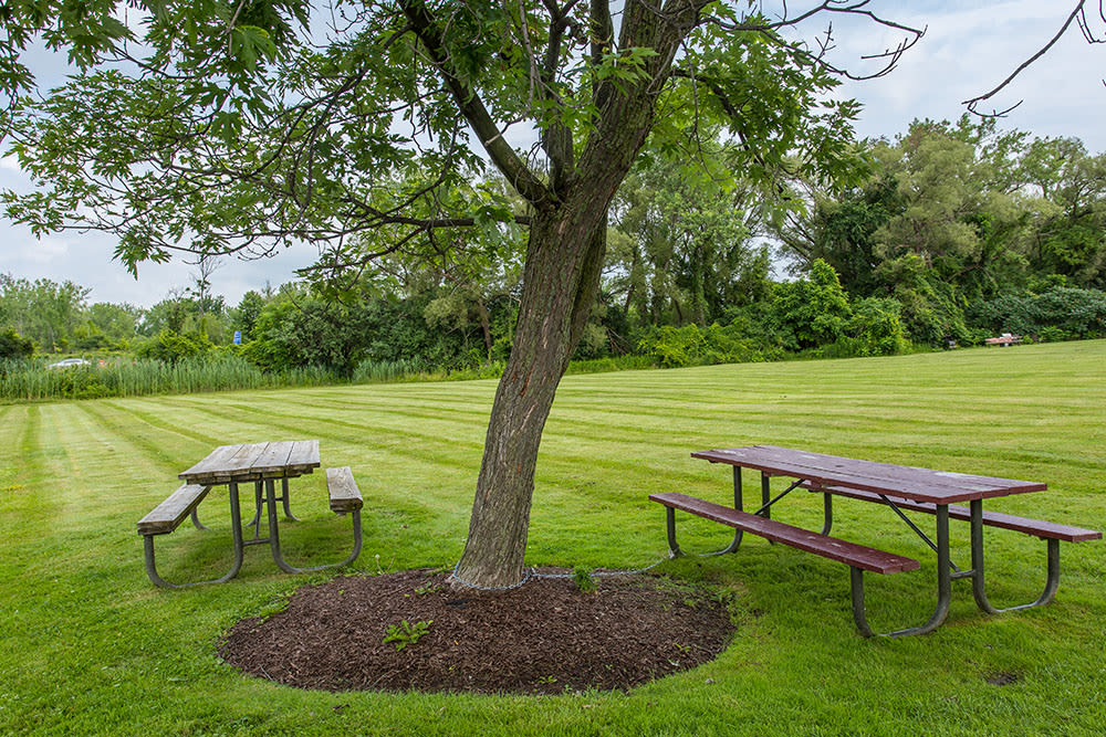 Orchard Estates offers a beautiful private patio in our Mattydale, New York apartments