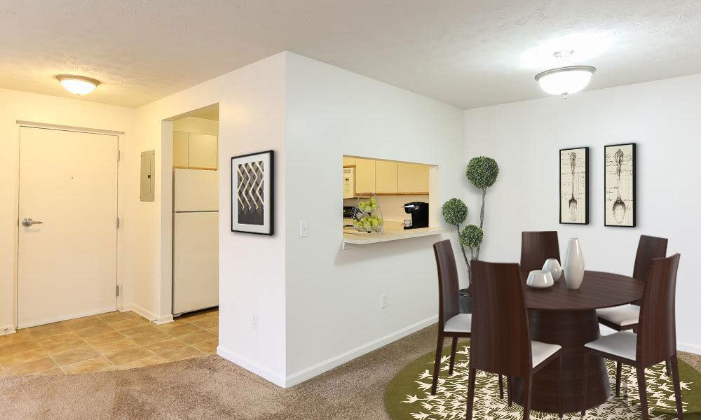 Kitchen and dining area in our Canandaigua, NY apartments
