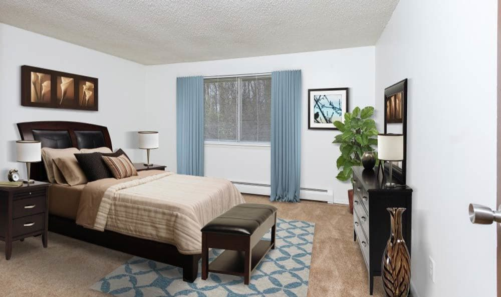 Model bedroom at Glenbrook Manor Apartments in Rochester, NY