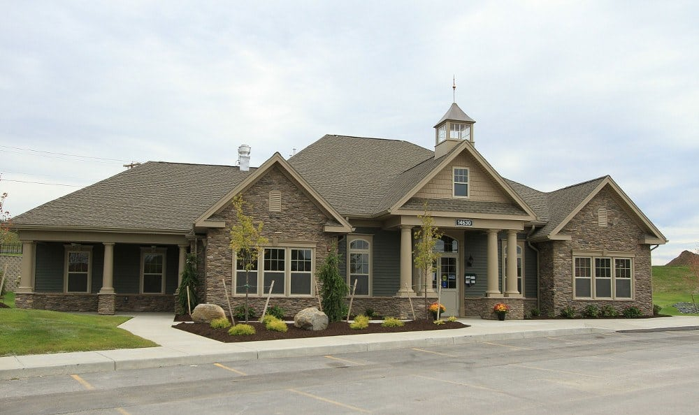 Clubhouse Exterior at Preserve at Autumn Ridge in Watertown, NY