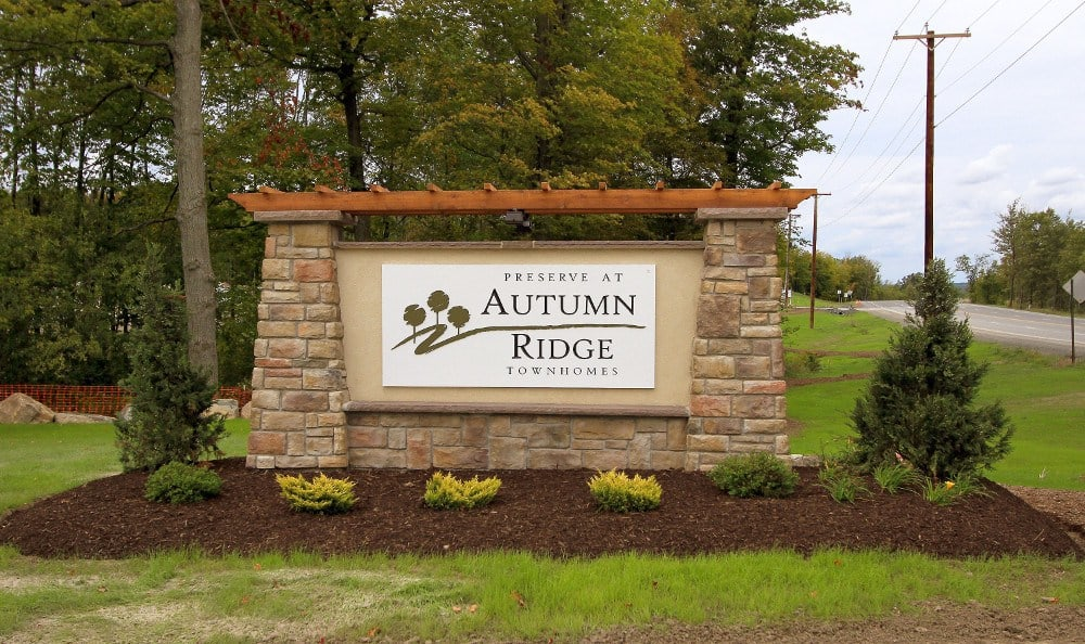 Monument Sign at Preserve at Autumn Ridge in Watertown, NY