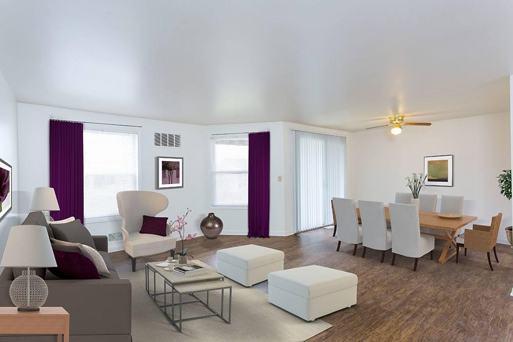 Model Living Room at Riverton Knolls in West Henrietta, NY