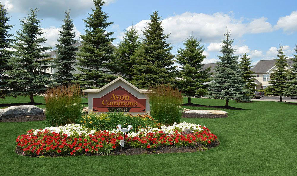 Landscaped Signage apartments at Avon Commons in Avon, New York