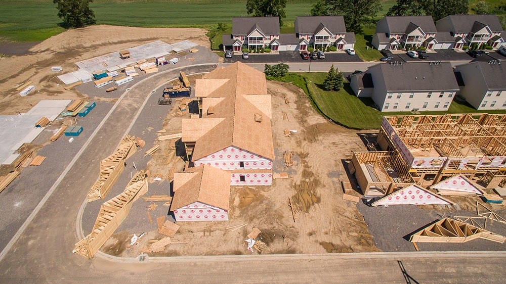 Aerial view of our apartments in Avon, NY