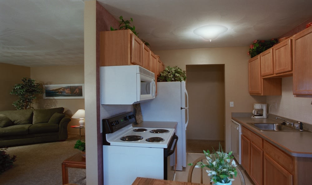 Kitchen and Living Room at Lake Vista Apartments in Rochester, NY